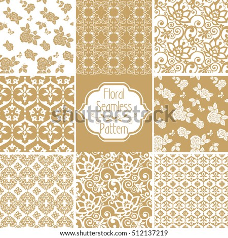 Set of Victorian damask seamless patterns. East, Indian Seamless gold pattern. Decorative ornament backdrop for fabric, textile, wrapping paper.