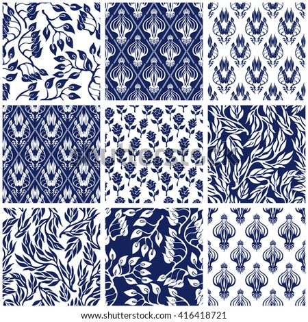 Set of Victorian damask seamless patterns with floral elements. Chinese, Indian, Arabic and Persian motifs. Leaves ornaments, roses, geometrical prints. Oriental textile collection. Blue on white. - stock vector