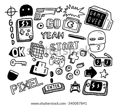 set of video games doodle  - stock vector