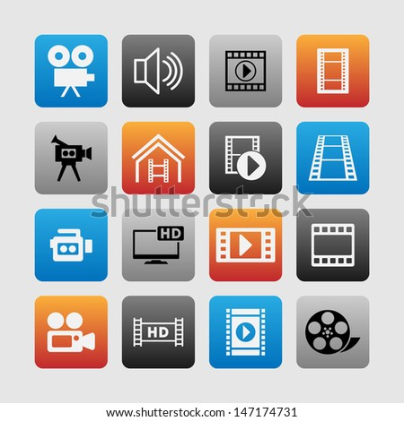 Set of video icons