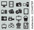 Set of video icons - vector icons - stock photo