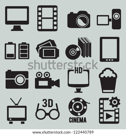 Set of video icons - vector icons - stock vector