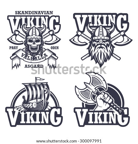 Set of viking emblems, labels and logos. Monochrome style - stock vector