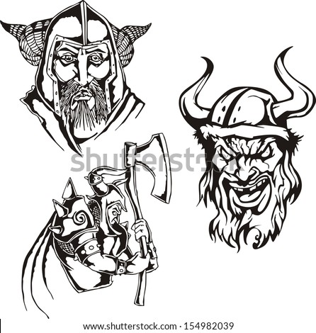 Set of viking heads. Black and white vector illustrations. - stock vector