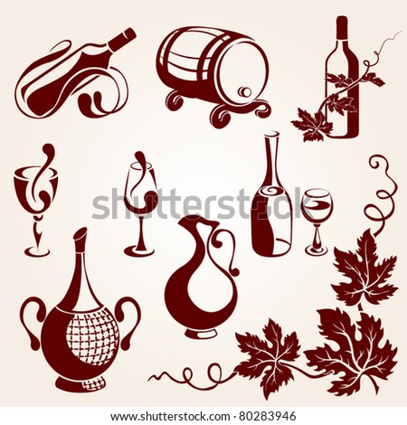 Set of vine elements - stock vector