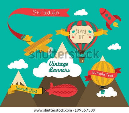 Set of Vintage Air Vehicles Banner Design with Retro Air Plane, Aerostat and Air Balloons. Vector Illustration. Text Frames with Ribbons - stock vector