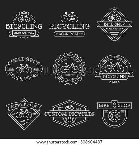 Set Vintage Modern Bicycle Shop Logos Stock Vector 308604437