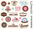 Set of vintage and modern ice cream shop logo badges and labels - stock vector