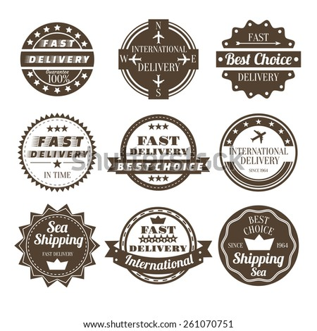 Set of vintage and retro delivery logo badges and labels