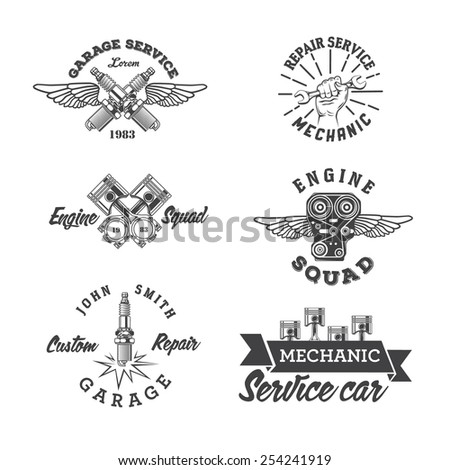 Set of vintage auto service labels and design elements  - stock vector