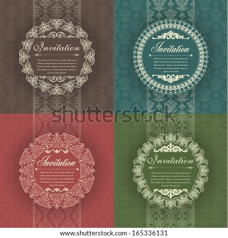 Set of vintage background for invitations - stock vector