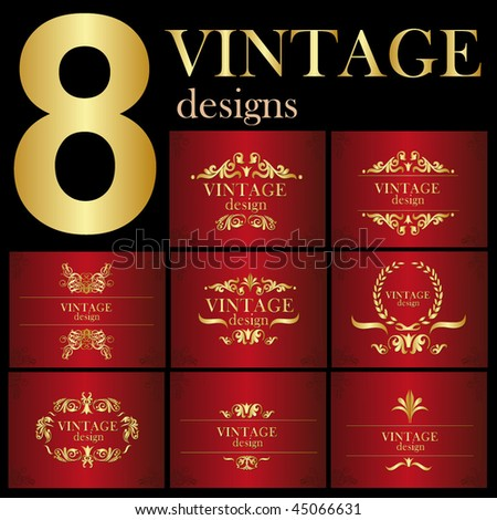 set of vintage backgrounds - stock vector