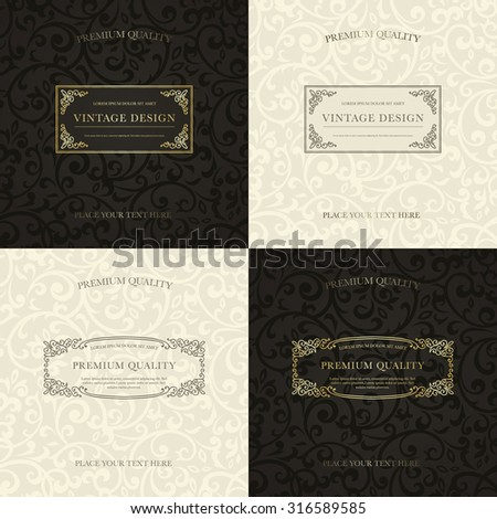 Set of vintage backgrounds. Golden frames on black pattern and gray frames on beige pattern for certificate, diploma, book cover, logo. Flourish design elements. - stock vector