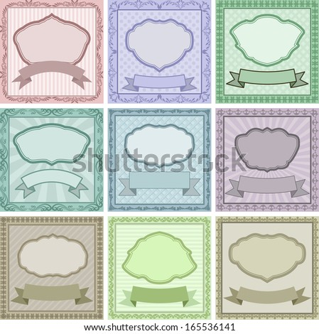 set of vintage backgrounds with frames and borders