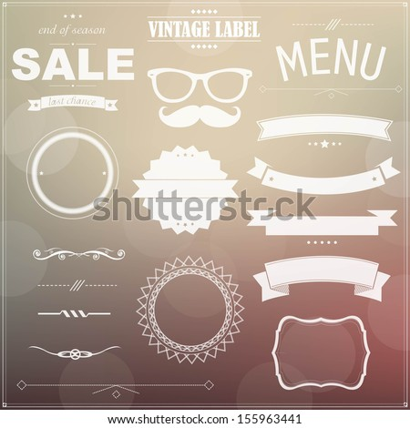 Set Of Vintage Badges - stock vector