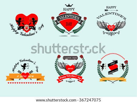 Set of vintage badges and labels for valentine's day,vector greeting card.Illustrator eps10 - stock vector