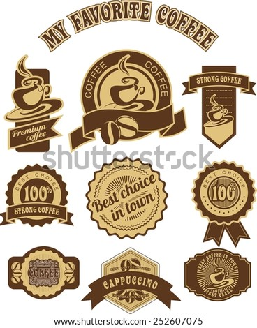 set of vintage badges and tags on the theme of coffee in retro style is made in two colors - stock vector