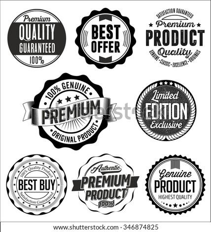 Set of Vintage Badges. Black on White Background - stock vector