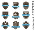 Set of 9 vintage badges. Shields with ribbons. Sale, premium quality, best choice, original vector labels. Vector illustration - stock vector