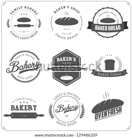 Set of vintage bakery labels and design elements - stock vector