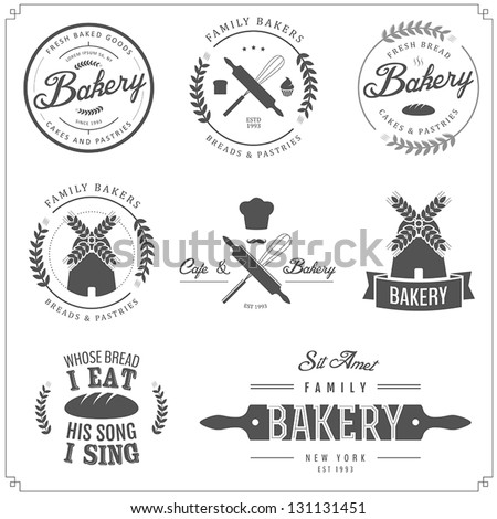 Set of vintage bakery labels, badges and design elements - stock vector