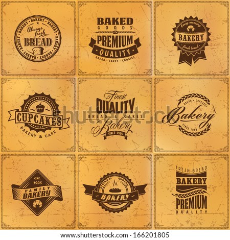 Set of vintage bakery or bread shop labels, badges and design elements on grunge blur texture - stock vector