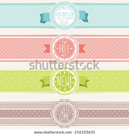 Set of vintage banners. Ribbons and badges retro style. Vector design elements. - stock vector