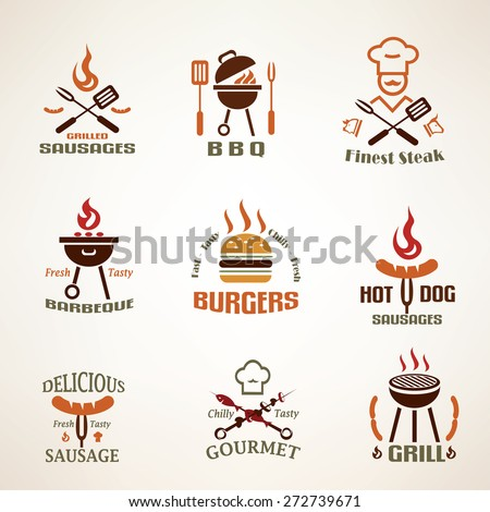 Set of vintage barbecue and grill labels, badges and design elements - stock vector