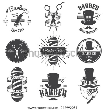 Set of vintage barber shop emblems, label, badges and designed elements. Monochrome linear style - stock vector