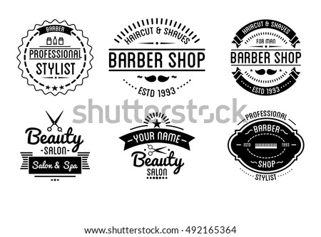 Set Of Vintage Barber Shop Logo And Beauty Spa Salon Badges Vector Elements Isolated