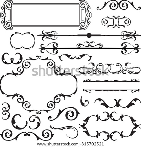 Set of vintage baroque elements is on white - stock vector