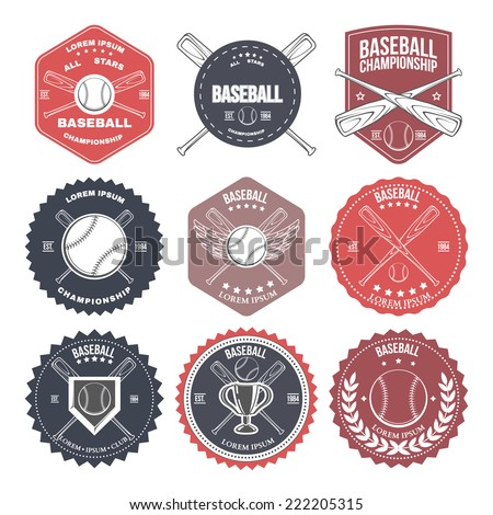 Set of vintage baseball labels and badges. Vector illustration - stock vector