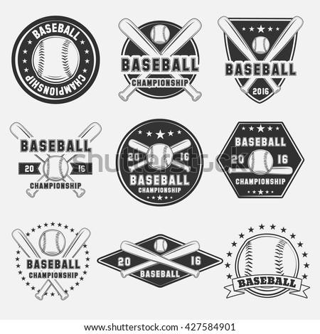 vector set baseball logos emblems design stock vector 577263181
