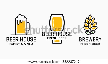 Set of vintage beer and brewery logos.  - stock vector