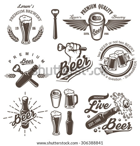 Set of vintage beer brewery emblems, labels, logos, badges and designed elements. Monochrome style. Isolated on white background - stock vector