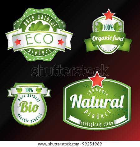 set of vintage bio eco labels - stock vector