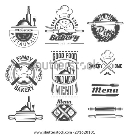 Set of vintage black and white bakery and menu card emblems, labels and designed elements - stock vector