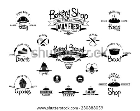 Set of vintage black and white bakery emblems, labels and designed elements - stock vector