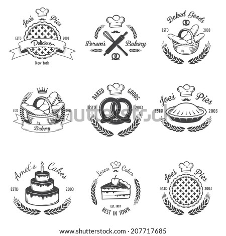 Set of vintage black and white bakery emblems, labels and designed elements. Set 1 - stock vector