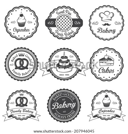 Set of vintage black and white bakery emblems, labels and designed elements. Set 2 - stock vector