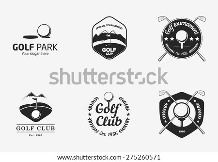 Set of vintage black and white golf championship logos and badges - stock vector