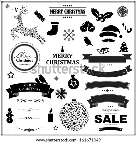 Set Of Vintage Black Christmas Symbols And Ribbons, With Gradient Mesh, Vector Illustration - stock vector