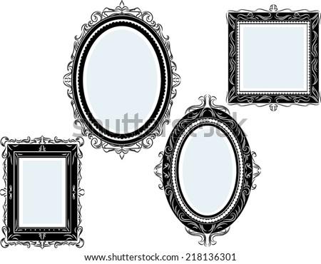 set of vintage black square and round frames, design elements - stock vector