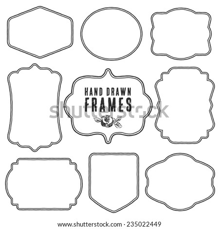 Set of vintage blank frames and labels. Hand drawn vector illustration. - stock vector