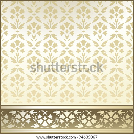 Set Of Vintage Border and Seamless  Wallpaper for design - stock vector
