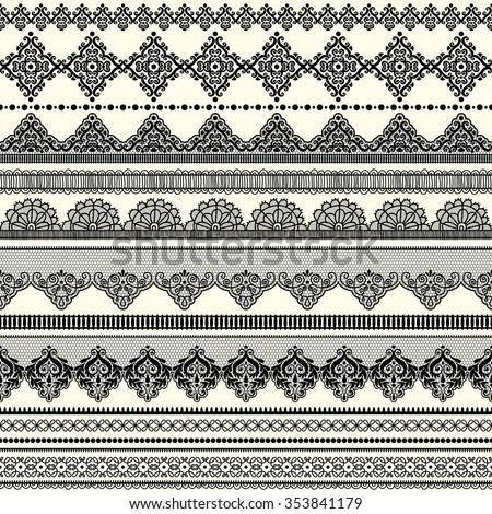 Set of vintage borders. Could be used as divider, frame, etc. Freehand drawing. Black and white.