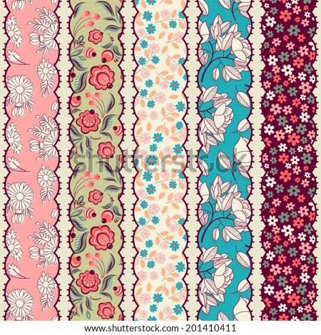 Set of vintage borders. Could be used as divider, frame, etc. Seamless pattern. Patchwork. - stock vector
