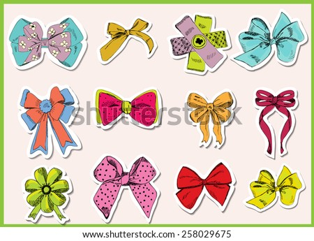 Set of vintage bow stickers. Vector eps10.