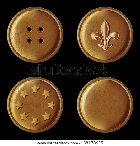 set of vintage bronze buttons - vector illustration - stock vector