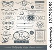 Set of vintage calligraphic design elements and vector page decorations. Decorative shapes for wedding invitations, restaurant menus or wine cards. - stock vector